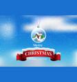 crystal ball snowball with snowy christmas tree vector image