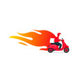 delivery motorcycle scooter with fire vector image vector image