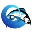 fish on a blue wave design vector image vector image