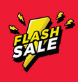 flash sale sign with bright yellow lightening bolt vector image