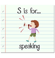 Flashcard alphabet S is for speaking vector image vector image