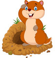 funny cartoon groundhog in front of its burrow vector image vector image