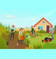 gardening cartoon composition vector image vector image