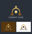 gold omega triangle company logo vector image vector image