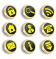 golden web icon set vector image vector image