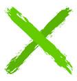 green criss cross brushstroke delete sign vector image vector image