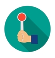 Hand holding stop sign icon in flat style isolated vector image