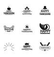 happy thanksgiving day logo set simple style vector image