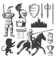 Knights Monochrome Elements Set vector image vector image