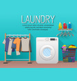 laundry room with washing machine drying clothes vector image vector image