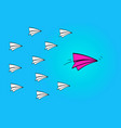 leadership concept with red paper plane leading vector image vector image