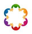 logo social media teamwork holding hands vector image vector image