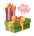 merry bright christmas package boxes icons vector image
