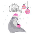 merry christmas card with cute cartoon sloth vector image