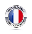 metal badge icon made in france with flag vector image
