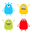 monster set cute cartoon colorful scary character vector image vector image