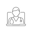 online medical consultant with stethoscope line vector image