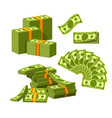 paper money tied with yellow rubber bands lie in vector image vector image