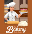 patisserie bakery and pastry shop baker with cake vector image vector image