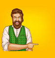 pop art brown haired bearded man vector image