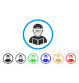 reading student rounded icon vector image
