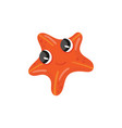 red starfish with shiny eyes funny sea star with vector image vector image