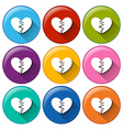 Round buttons with broken hearts vector image vector image