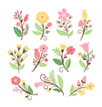set cute flowers vector image vector image
