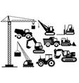 set of excavators and heavy vector image vector image