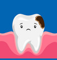 sick tooth with caries vector image vector image