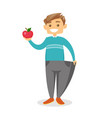 slim man in pants showing the results of diet vector image vector image