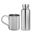 stainless steel mug and metal flask thermo bottle vector image vector image