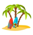 Surfing pacific beach flat print vector image vector image