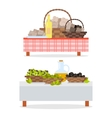 Table with Bottle of Wine and Oil Jug and Baskets vector image