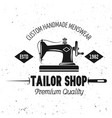 tailor shop emblem with sewing machine vector image