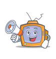 tv character cartoon object with megaphone vector image vector image