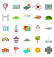 view icons set cartoon style vector image vector image