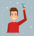 young man with smartphone character vector image