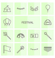 14 festival icons vector image vector image