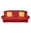 A red sofa and yellow cushions vector image vector image