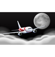 Airplane flying in the fullmoon vector image vector image
