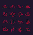 army military line icons set vector image