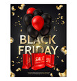 black friday poster balloons shopping bag vector image