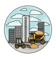 building set city with contruction vehicles in vector image vector image