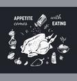 chalk drawn food poster design background vector image vector image