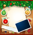christmas background with photo frame vector image vector image