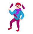 clown juggles icon cartoon style vector image