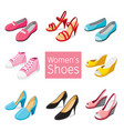 collection of different womens shoes pair vector image