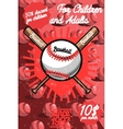 Color vintage baseball poster vector image vector image