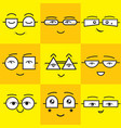 cute yellow and orange square smiling faces vector image vector image